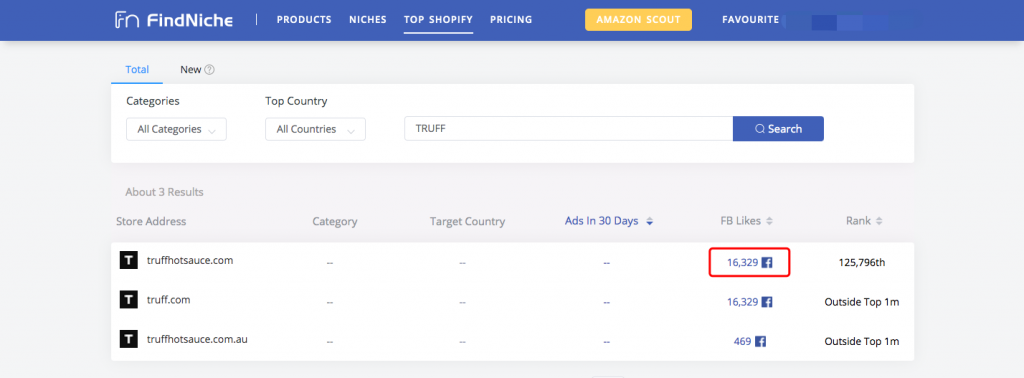 how to find a Shopify store's FB page through FindNiche -- FindNiche