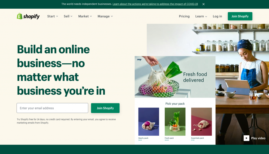 the homepage of Shopify -- FindNiche