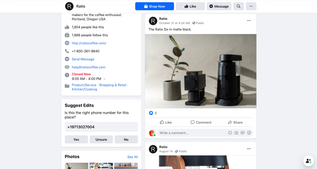 Facebook page of Ratio Coffee -- FindNiche