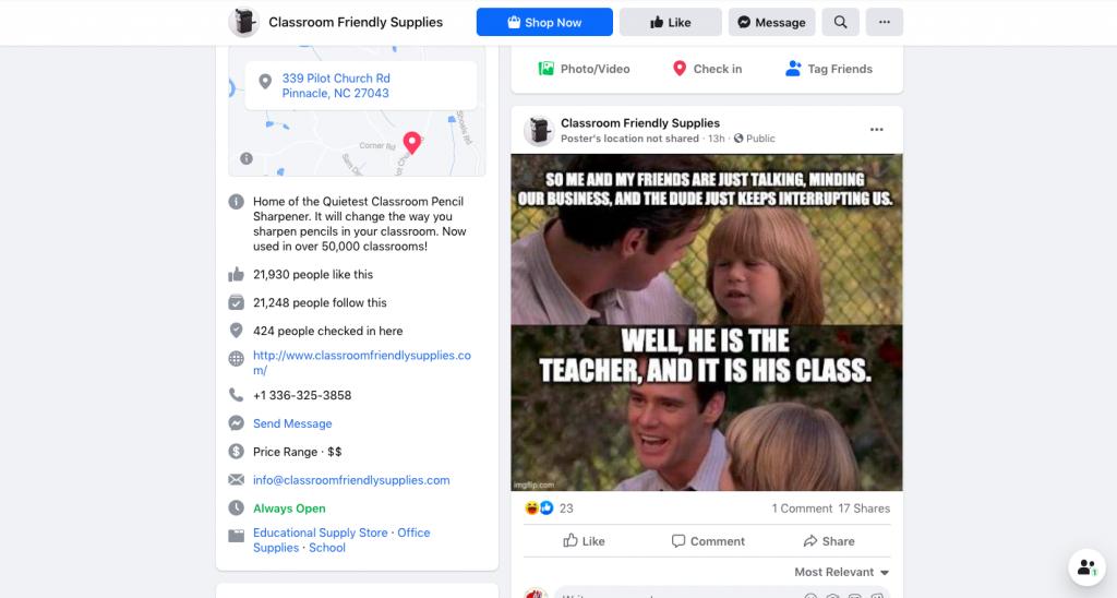 Facebook page of Classroomfriendlysupplies -- FindNiche