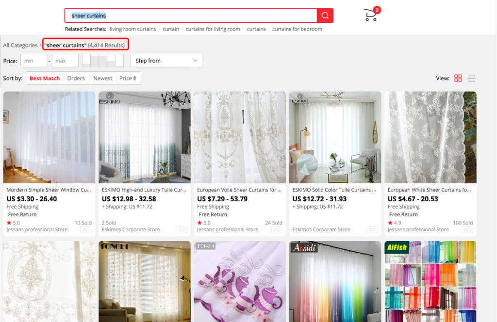 """the results of """"sheer curtains"""" in AliExpress -- FindNiche"""
