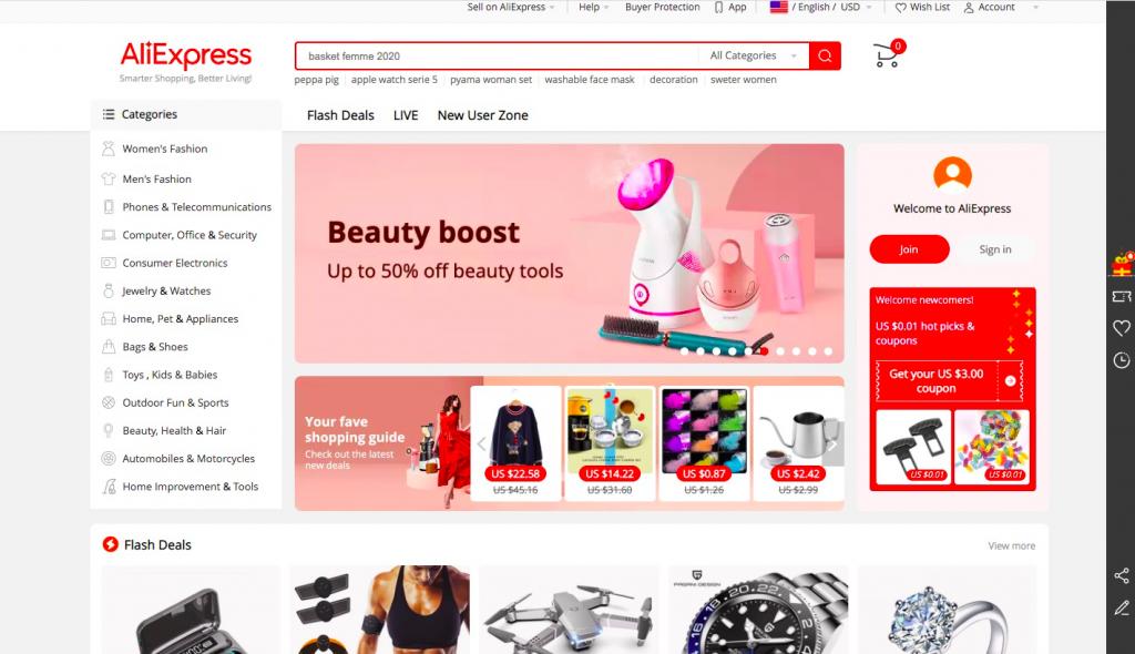 Aliexpress homepage -- FindNiche